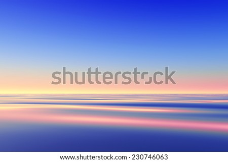 tranquil pink sunset over calm sea - stock photo