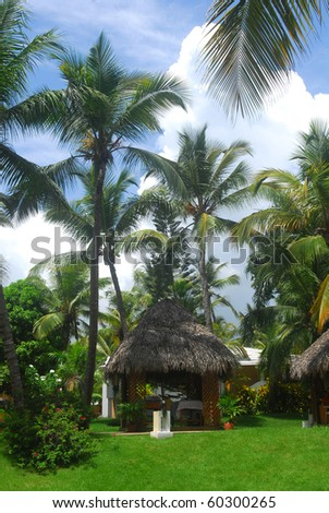 Tranquil scene of a massage hut along the palm tree shores of the Dominican Republic - stock photo