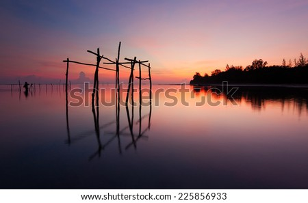 Tranquil scene of sunrise in Kudat, Sabah, East Malaysia, Borneo - stock photo