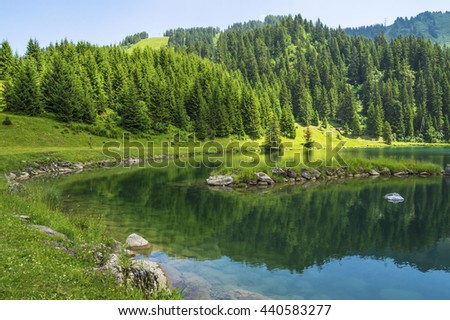Tranquil scene on the shore of the lake. Beautiful green landscape in the Alps mountains - stock photo
