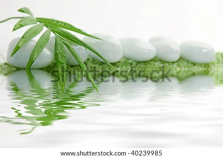 Tranquil Stone with Bamboo Leaf With Water Reflection - stock photo