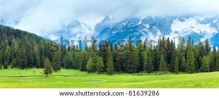 Tranquil summer Italian dolomites mountain view - stock photo
