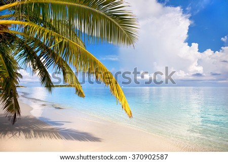 Tranquil sunny day at the beautiful tropical island - stock photo