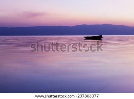 Tranquil Sunset, Lake Ohrid, Macedonia - stock photo