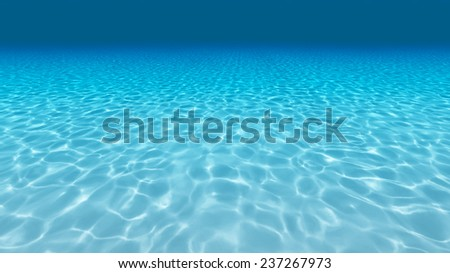 Tranquil underwater scene with copy space. 3d render - stock photo
