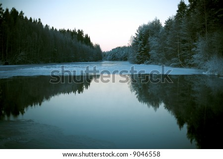 tranquil winter landscape - stock photo