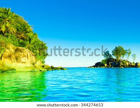 Tranquility Palms Sea  - stock photo
