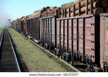 Trans Siberian train transporting wooden logs, cargo and passengers - stock photo