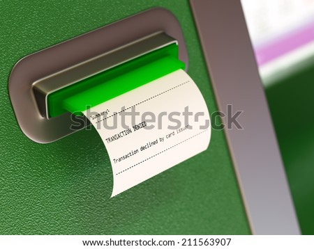 Transaction denied atm machine receipt - stock photo