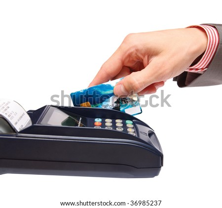 transaction - men hand with credit card in payment terminal - stock photo