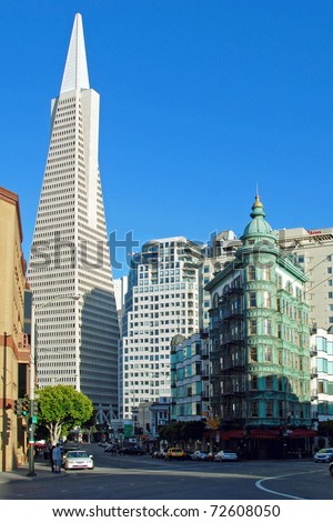 Transamerica pyramid bank building in San Francisco. - stock photo