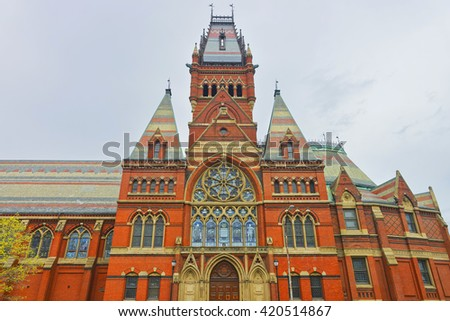 Transept of Memorial Hall in Harvard University of Cambridge, Massachusetts, USA. It was built in honor of men who died during the American Civil War. - stock photo