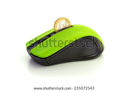 TRANSFER MONEY ONLINE 1 A mouse that allows transferring real money on-line.  - stock photo