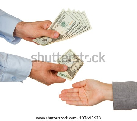 Transfer of money between man and woman, isolated on white - stock photo