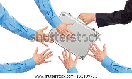 Transfer the silver metal case from hand to hands. Isolated on white - stock photo