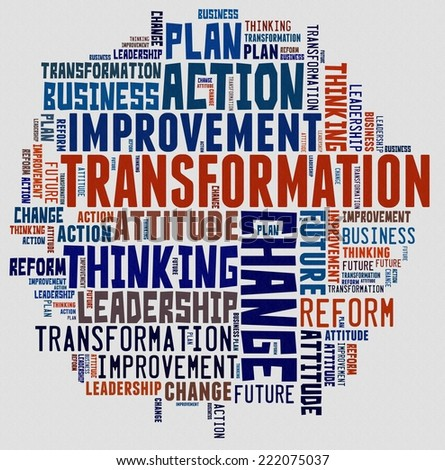 Transformation in word collage - stock photo