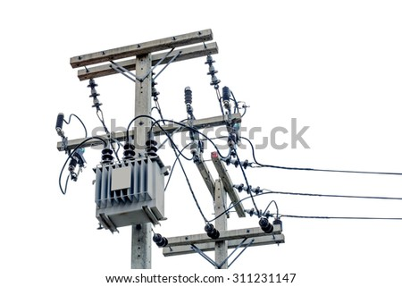 Transformer And Power Lines On White Background. - stock photo