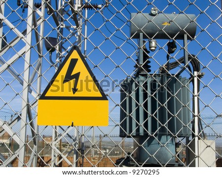 Transformer. High power station. High voltage - stock photo