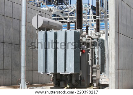 Transformer in coal fire power plant under-construction. - stock photo