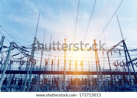 Transformer substation - stock photo