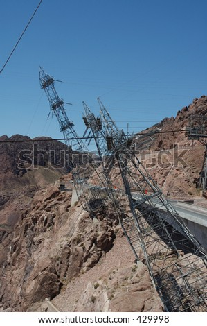 Transformer Towers at Hoover Dam - stock photo