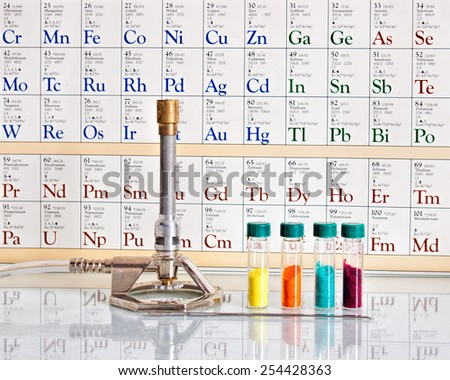 Transition metals with periodic table. - stock photo