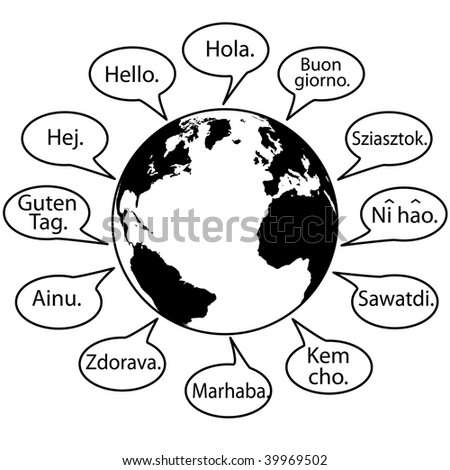 Translate Earth Languages say Hello World in speech bubbles. - stock photo