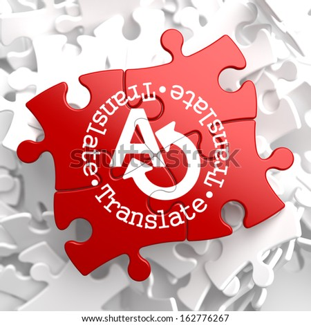 Translate on Red Puzzle. Communication Concept. - stock photo