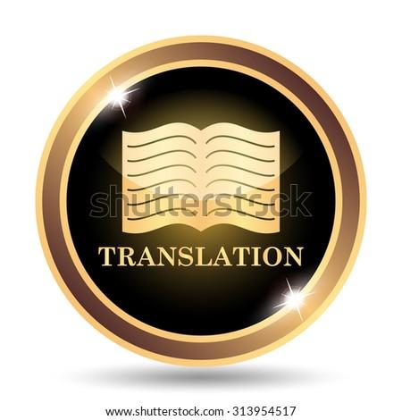 Translation book icon. Internet button on white background. - stock photo