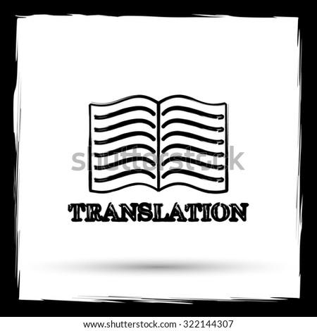 Translation book icon. Internet button on white background. Outline design imitating paintbrush. - stock photo