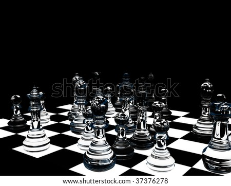 Translucent glass chess figures on a board - stock photo