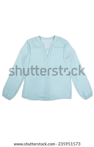 translucent ladies blouse on a white background - stock photo