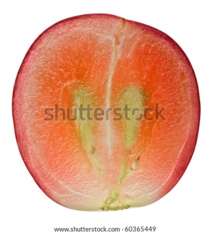 Translucent slice of red grape fruit, macro isolated on white - stock photo