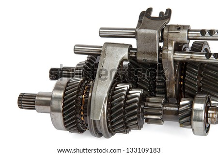 Transmission gears, isolated on a white background - stock photo