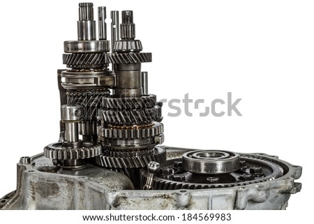 Transmission gears, isolated on a white background, with clipping path - stock photo