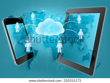 transmission of information in the cloud using the phone and tablet - stock photo