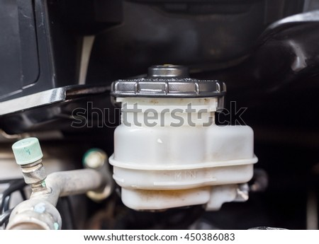 Transmission oil pot  level in a engine car  - stock photo