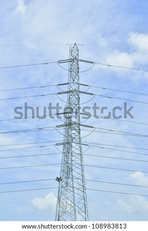 transmission tower - Power lines - Electrical pylon - pylons supporting overhead electricity conductors for electric power transmission - Electricity pylons with long cable - Electrical towers - stock photo