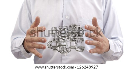 transmission with gears and shafts between the hands of the engineer on the background against the back of stomach Digestive system to the internal organs or process improvement programs - stock photo