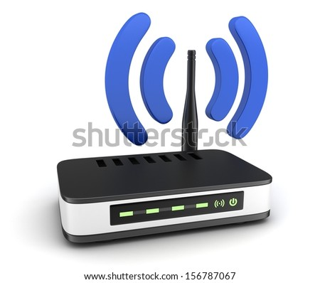 Transmitter wi-fi on white background (done in 3d)  - stock photo
