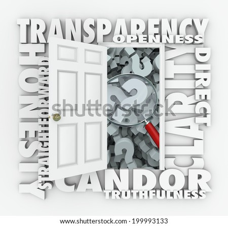 Transparency door opening to show a magnifying glass openness, candor, truthfulness and honesty - stock photo