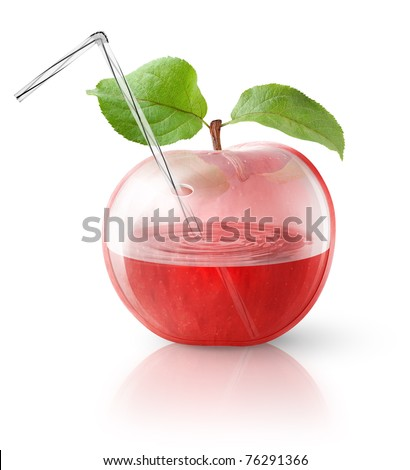 Transparent apple, concept image for fresh apple juice - stock photo