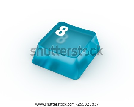Transparent blue keyboard button with number EIGHT - stock photo