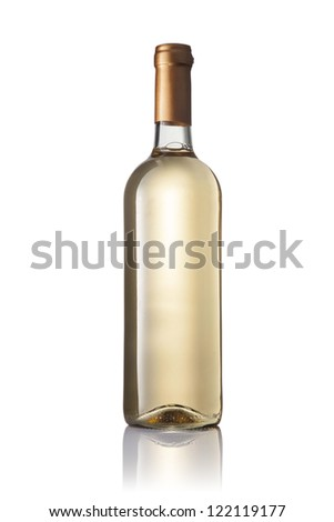 transparent bottle with white wine isolated on white background - stock photo