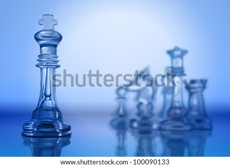 Transparent chess pieces on the mirror surface and a blue background. Bitmap copy my vector - stock photo