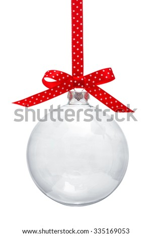 Transparent Christmas ball hanging on red ribbon - stock photo