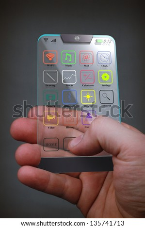 Transparent Color Mobile on a gray background - stock photo