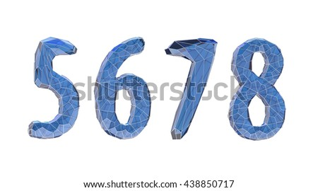 transparent crystal number set, five, six, seven, eight,3d illustration - stock photo
