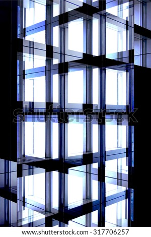 Transparent detail of modern architecture. Digitally altered image of a glass panel structure / pattern in futuristic interpretation. - stock photo