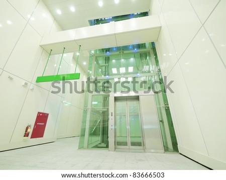 Transparent elevator - stock photo